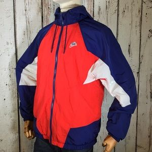 Nike Hooded Windbreaker Red White & Blue Vintage Style Full Zip Size Small
